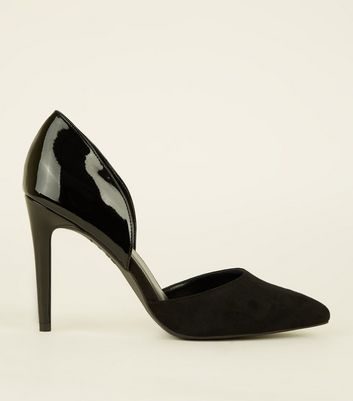 Black Suedette and Patent Pointed Courts