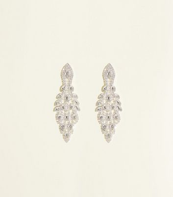 Crystal Peacock Tail Chandelier Earrings
