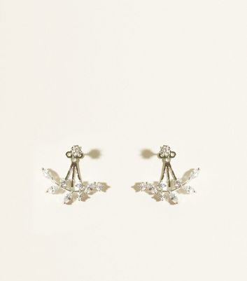 Silver Cubic Zirconia Leaf Jacket Earrings