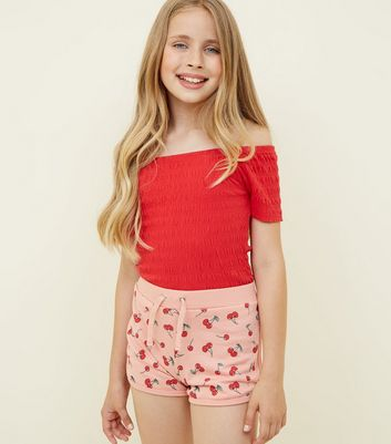 Teens Pink Cherry Printed Jersey Runner Shorts