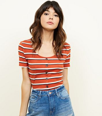 Rust Stripe Button Through Ribbed T-Shirt