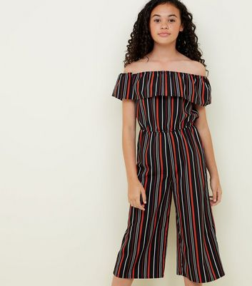 Black Stripe Bardot Neck Jumpsuit