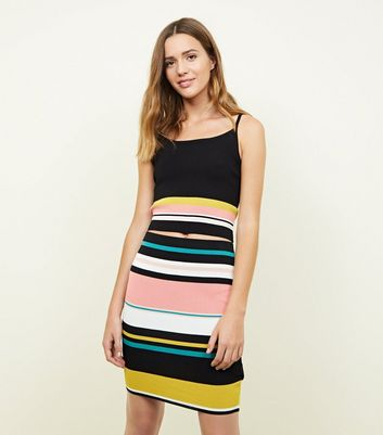 Black Multi Stripe Mini Tube Skirt