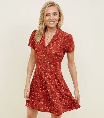 Petite Rust Spot Print Button Through Tea Dress