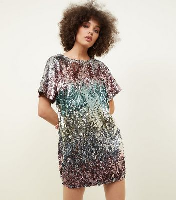 Multi Coloured Stripe Sequin T-Shirt Dress
