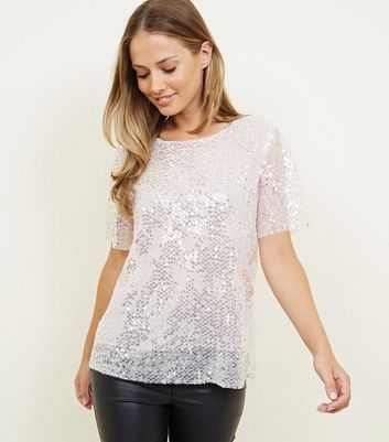 Pink Mesh Sequin Party T-Shirt