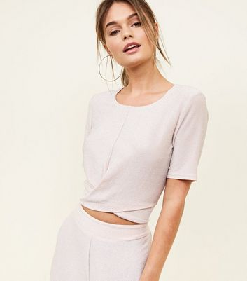 Pale Pink Glitter Wrap Front Party Top