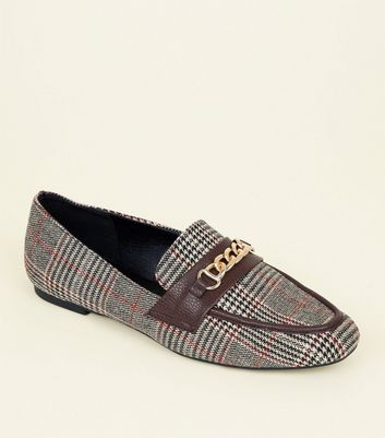 Brown Check Chain Front Loafers