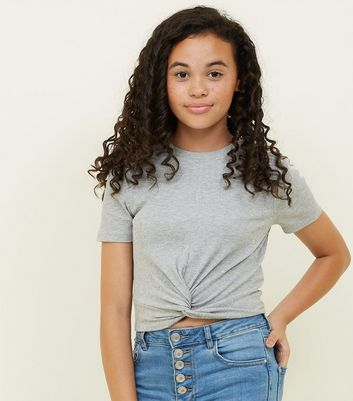Girls Grey Marl Ribbed Twist Front T-Shirt