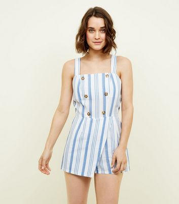Cameo Rose White Stripe Button Front Playsuit by New Look