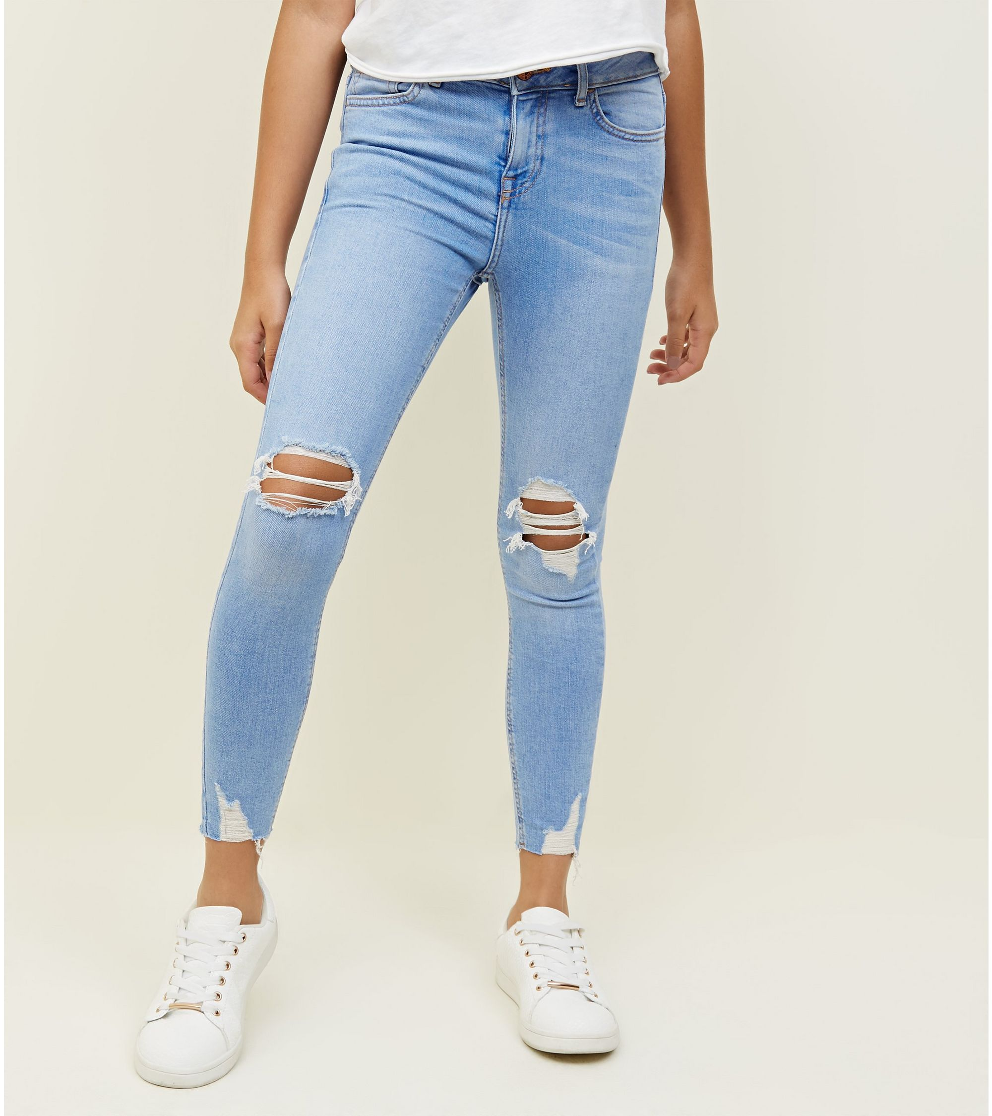 159135a09625 New Look Girls Pale Blue Bleach Wash Ripped Skinny Jeans at £22.99 ...