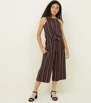 Girls Black and Red Stripe Culottes