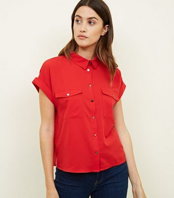 Red Twill Short Sleeve Utility Shirt