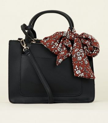 Black Floral Scarf Cross Body Bag