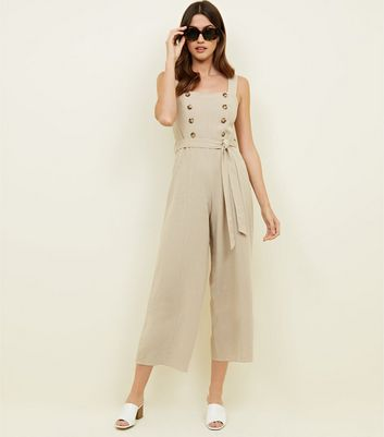 Stone Double Breasted Button Culotte Jumpsuit
