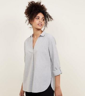 Grey 3/4 Sleeve V Neck Shirt