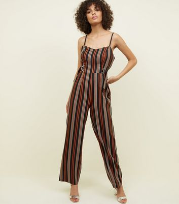 Brown Stripe D-Ring Belted Jumpsuit