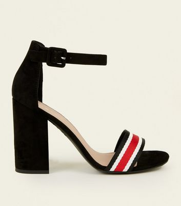 Black Suedette Striped Block Heels