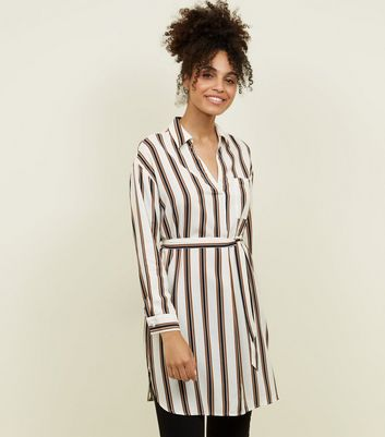 Off White Stripe Belted Shirt Dress