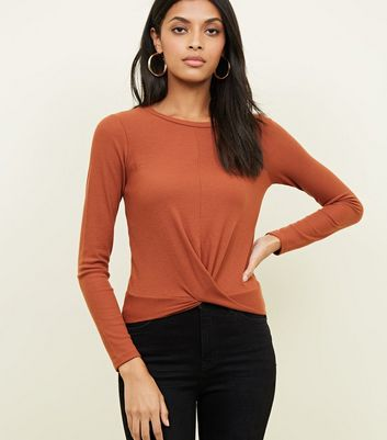 Rust Ribbed Twist Front Long Sleeve T-Shirt