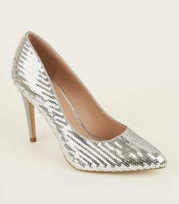 Silver Sequin Pointed Heeled Court Shoes