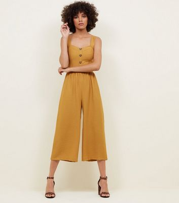 Yellow Button Through Culotte Jumpsuit by New Look