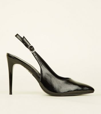 Black Patent Stiletto Heel Pointed Slingbacks