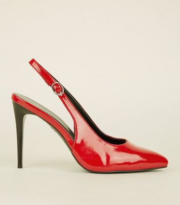 Red Patent Stiletto Heel Pointed Slingbacks