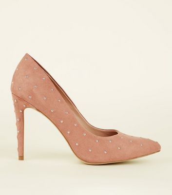 Pink Suedette Studded Court Shoes