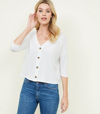 White Ribbed Button Front 3/4 Sleeve Top