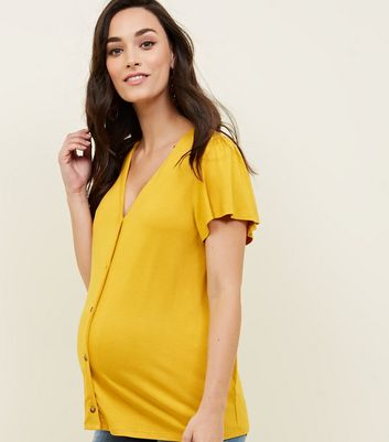 Maternity Mustard Button Front T-Shirt