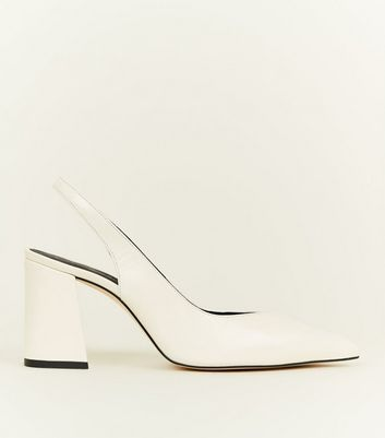 Off White Premium Leather Slingback Courts by New Look