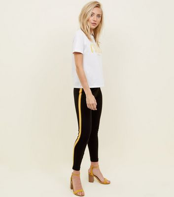 Petite Black and Mustard Side Stripe Leggings