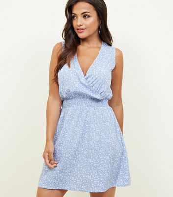 Petite Blue Ditsy Floral Wrap Front Dress
