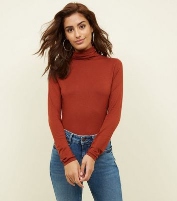 Tall Rust Long Sleeve Turtleneck Top