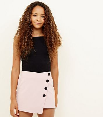 Girls Pale Pink Button Wrap Front Skort