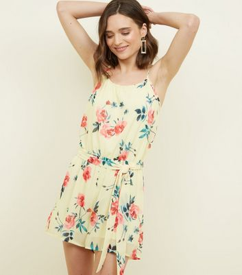 Cameo Rose Yellow Floral Belted Playsuit