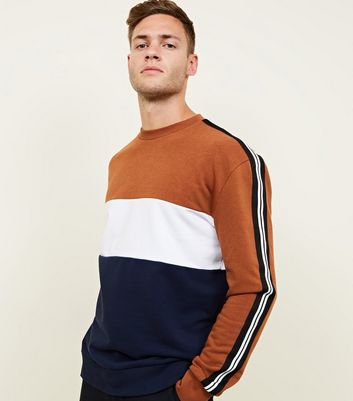 Mid Brown Colour Block Tape Sleeve Sweatshirt