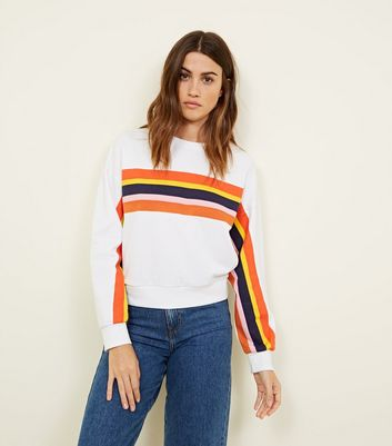 White Rainbow Stripe Sweatshirt by New Look