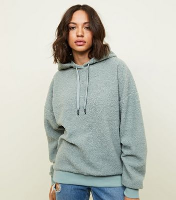 Mint Green Borg Oversized Hoodie