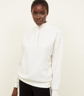 Cream Borg Ring Zip Up Funnel Neck Sweatshirt by New Look