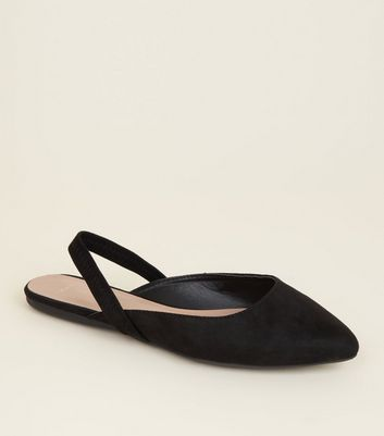 Wide Fit Black Suedette Slingback Mules by New Look