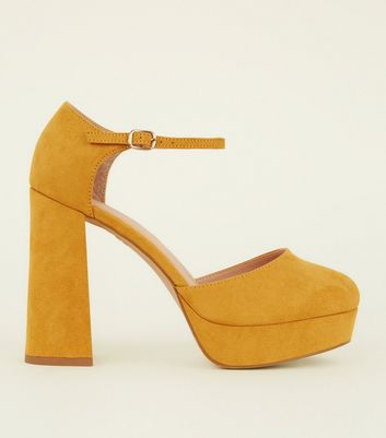 Wide Fit Mustard Suedette Flared Platform Heels by New Look