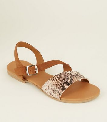 Tan Suede and Faux Snakeskin Strap Sandals