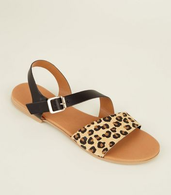 Black Leather and Faux Leopard Strap Sandals