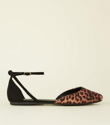 Wide Fit Black Leopard Print Suedette Ballerina Pumps by New Look