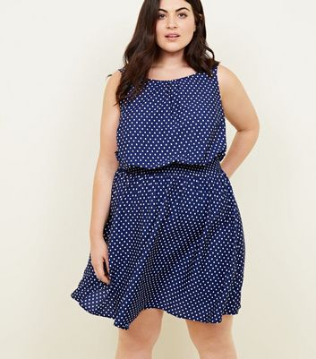 Curves Blue Spot Print Shirred Waist Dress