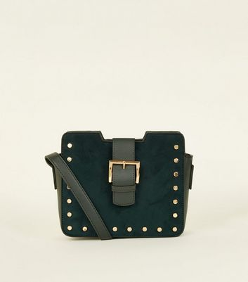 Dark Green Suedette Stud Buckle Cross Body Bag