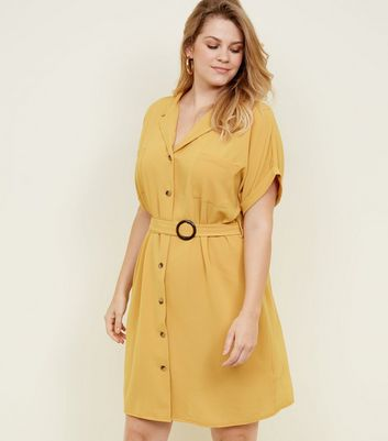 Curves Yellow Belted Collar Shirt Dress