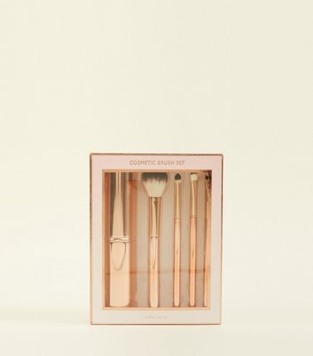 Rose Gold 4 Piece Make Up Brush And Holder Set by New Look